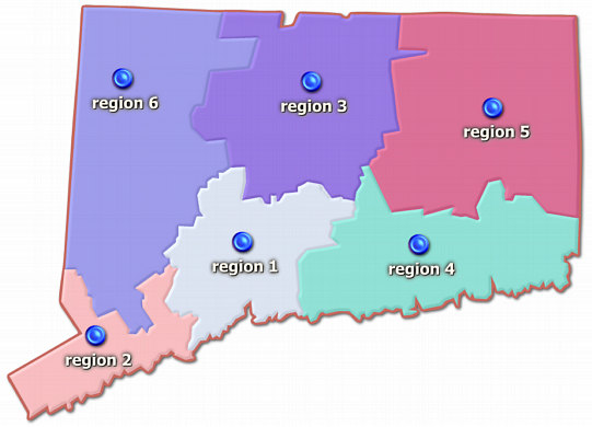 Map of 6 RESC regions of Connecticut